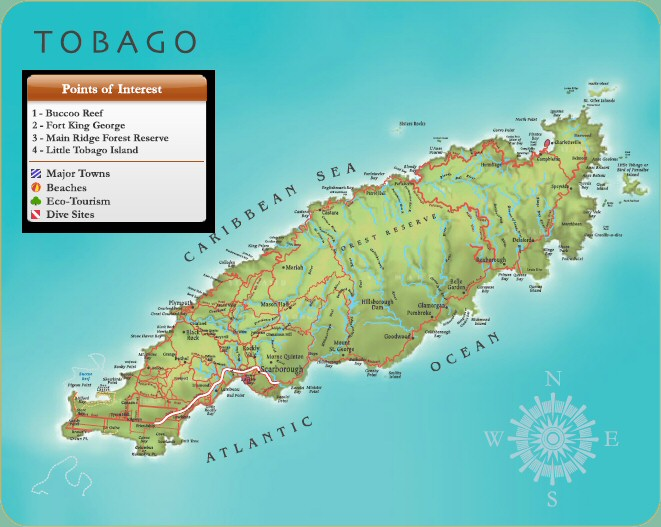 Map of Tobago courtesy Tourism Development Company Limited of Trinidad & Tobago